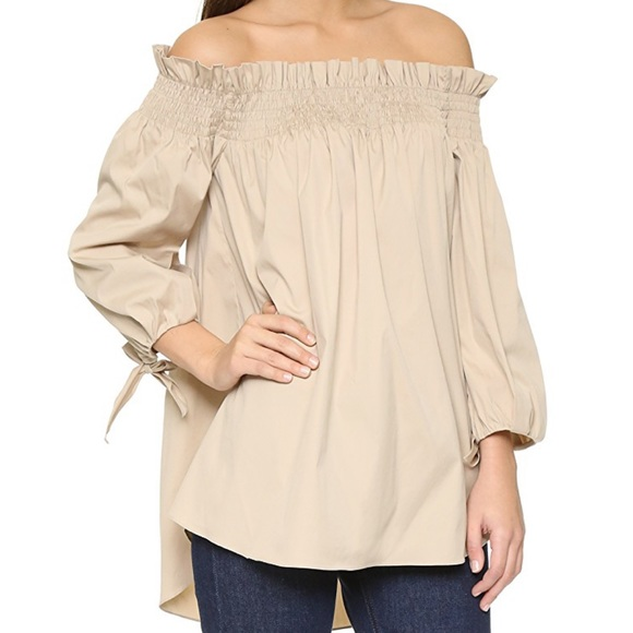 29e316ba418 Caroline Constas Tops | Khaki Lou Off Shoulder Top | Poshmark